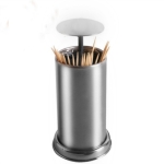 2 PCS Push-Type Toothpick Box Automatic Pop-Up Stainless Steel Dustproof Toothpick Holder