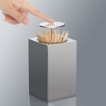 Push-Type Stainless Steel Toothpick Holder Portable Automatic Pop-Up Toothpick Storage Box(Square )