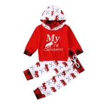 Children Arrow Print Reindeer Christmas Two-piece Set (Color:Red Size:80)