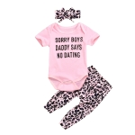 Short Sleeve Letter Printing + Leopard Print Trousers Girl Suit (Color:Pink Size:70)