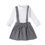 Two-piece Children Long Sleeve + Suspender Skirt (Color:White Size:90)