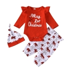 Christmas Style Long-sleeved + Trousers Children Suit (Color:Red Size:60)