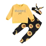 Children Three-piece Letter Printed Long-sleeved Trousers (Color:Gold Size:70)