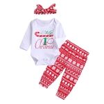 Letter Digital Printed Red Snowflake Pants Long Sleeve Three-piece Set With Hood (Color:White Size:90)