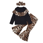 Leopard Print Headwear + Top + Trousers Three-piece Suit (Color:Black Size:120)