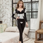 Long-sleeved Bodysuit With Waist And Belly Shaping (Color:Black Size:XXL)