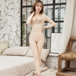 Long-sleeved Bodysuit With Waist And Belly Shaping (Color:Skin Colour Size:M)