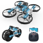 2 In 1 Land Air Deformation Motorcycle Remote Control Aircraft Quadcopter Drone, Wifi Camera Version (Blue)