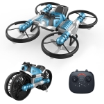 2 In 1 Land Air Deformation Motorcycle Remote Control Aircraft Quadcopter Drone, Regular Version (Blue)