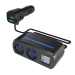 SHUNWEI SD-1928C 80W 3.1A Car 2 in 1 Dual USB Charger Cigarette Lighter with Voltage Detection