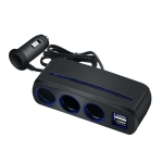 SHUNWEI SD-1938 120W 3A Car 3 in 1 Dual USB Charger Cigarette Lighter with Atmosphere Light (Black)