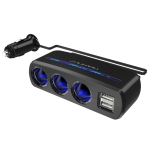 SHUNWEI SD-1939 120W 3A Car Independent Switch 3 in 1 Dual USB Charger Cigarette Lighter (Black)