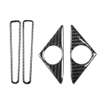 4 PCS Car Carbon Fiber Door Horn + Window Air Outlet Decorative Sticker for Nissan GTR R35 2008-2020, Left and Right Drive Universal