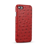 Ostrich Texture Head-layer Cowhide Leather Back Cover Case For iPhone SE 2020 / 8 / 7(Red)