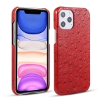 Ostrich Texture Head-layer Cowhide Leather Back Cover Case For iPhone 12 Pro Max(Red)