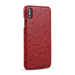 Ostrich Texture Head-layer Cowhide Leather Back Cover Case For iPhone XS / X(Red)