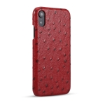 Ostrich Texture Head-layer Cowhide Leather Back Cover Case For iPhone XR(Red)