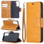 For Samsung Galaxy S30 Lambskin Texture Pure Color Horizontal Flip PU Leather Case with Holder & Card Slots & Wallet & Lanyard(Yellow)