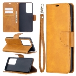 For Samsung Galaxy S30 Ultra Lambskin Texture Pure Color Horizontal Flip PU Leather Case with Holder & Card Slots & Wallet & Lanyard(Yellow)