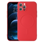 Liquid Silicone Full Coverage Shockproof Magsafe Case For iPhone 12 Pro Max(Red)