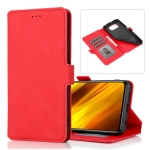 For Xiaomi Poco X3 NFC Retro Magnetic Closing Clasp Horizontal Flip Leather Case with Holder & Card Slots & Photo Frame & Wallet (Red)
