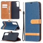For Samsung Galaxy S30 Plus Color Matching Denim Texture Horizontal Flip Leather Case with Holder & Card Slots & Wallet & Lanyard(Dark Blue)