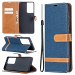 For Samsung Galaxy S30 Ultra Color Matching Denim Texture Horizontal Flip Leather Case with Holder & Card Slots & Wallet & Lanyard(Dark Blue)