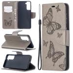For Samsung Galaxy S30 Embossing Two Butterflies Pattern Horizontal Flip PU Leather Case with Holder & Card Slot & Wallet & Lanyard(Grey)