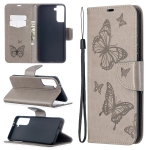 For Samsung Galaxy S30 Plus Embossing Two Butterflies Pattern Horizontal Flip PU Leather Case with Holder & Card Slot & Wallet & Lanyard(Grey)