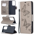 For Samsung Galaxy S30 Ultra Embossing Two Butterflies Pattern Horizontal Flip PU Leather Case with Holder & Card Slot & Wallet & Lanyard(Grey)