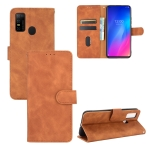 For DOOGEE N30 Solid Color Skin Feel Magnetic Buckle Horizontal Flip Calf Texture PU Leather Case with Holder & Card Slots & Wallet(Brown)