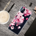 For OnePlus Nord N10 5G Colored Drawing Clear TPU Protective Cases(Cherry Blossoms)