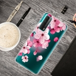 For Huawei P Smart 2021 Colored Drawing Clear TPU Protective Cases(Cherry Blossoms)