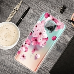For Xiaomi Mi 10T Lite 5G Colored Drawing Clear TPU Protective Cases(Cherry Blossoms)