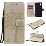 For Samsung Galaxy A01 Core Tree & Cat Pattern Pressed Printing Horizontal Flip PU Leather Case with Holder & Card Slots & Wallet & Lanyard(Gold)