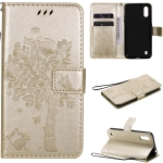 For Samsung Galaxy M01 Tree & Cat Pattern Pressed Printing Horizontal Flip PU Leather Case with Holder & Card Slots & Wallet & Lanyard(Gold)