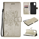 For Samsung Galaxy M31s Tree & Cat Pattern Pressed Printing Horizontal Flip PU Leather Case with Holder & Card Slots & Wallet & Lanyard(Gold)