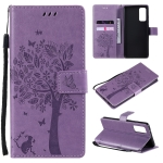 For Samsung Galaxy S20 FE 5G / S20 Lite Tree & Cat Pattern Pressed Printing Horizontal Flip PU Leather Case with Holder & Card Slots & Wallet & Lanyard(Light Purple)