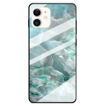 Fashion Marble Tempered Glass Protective Case For iPhone 12 mini(Cyan)