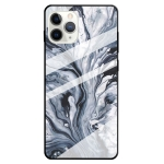 Fashion Marble Tempered Glass Protective Case For iPhone 12 Pro Max(Ink Black)