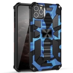 Camouflage Armor Shockproof TPU + PC Magnetic Protective Case with Holder For iPhone 12 / 12 Pro(Dark Blue)