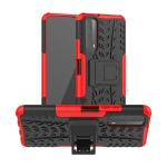 For Huawei P Smart(2021)/Y7a Tire Texture Shockproof TPU+PC Protective Case with Holder(Red)