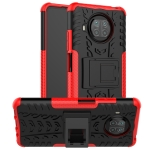 For Xiaomi Mi 10T Lite 5G Tire Texture Shockproof TPU+PC Protective Case with Holder(Red)
