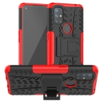 For OnePlus Nord N10 5G Tire Texture Shockproof TPU+PC Protective Case with Holder(Red)