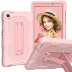 For Huawei MatePad T8 8.0(2020) Contrast Color Robot Shockproof Silicone + PC Protective Case with Holder(Rose Gold)