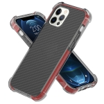 Carbon Fiber Acrylic Protective Case For iPhone 12 Pro Max(Red)