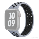 Elastic Silicone Watchband For Apple Watch Series 6 & SE & 5 & 4 40mm / 3 & 2 & 1 38mm, Length: 160mm(Grey Black)