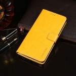 For Fujitsu Arrows RX idewei Crazy Horse Texture Horizontal Flip Leather Case with Holder & Card Slots & Wallet(Yellow)