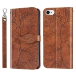 Life of Tree Embossing Pattern Horizontal Flip Leather Case with Holder & Card Slot & Wallet & Photo Frame & Lanyard For iPhone 8 & 7(Brown)