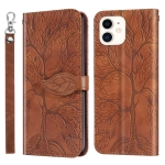 Life of Tree Embossing Pattern Horizontal Flip Leather Case with Holder & Card Slot & Wallet & Photo Frame & Lanyard For iPhone 12 mini(Brown)
